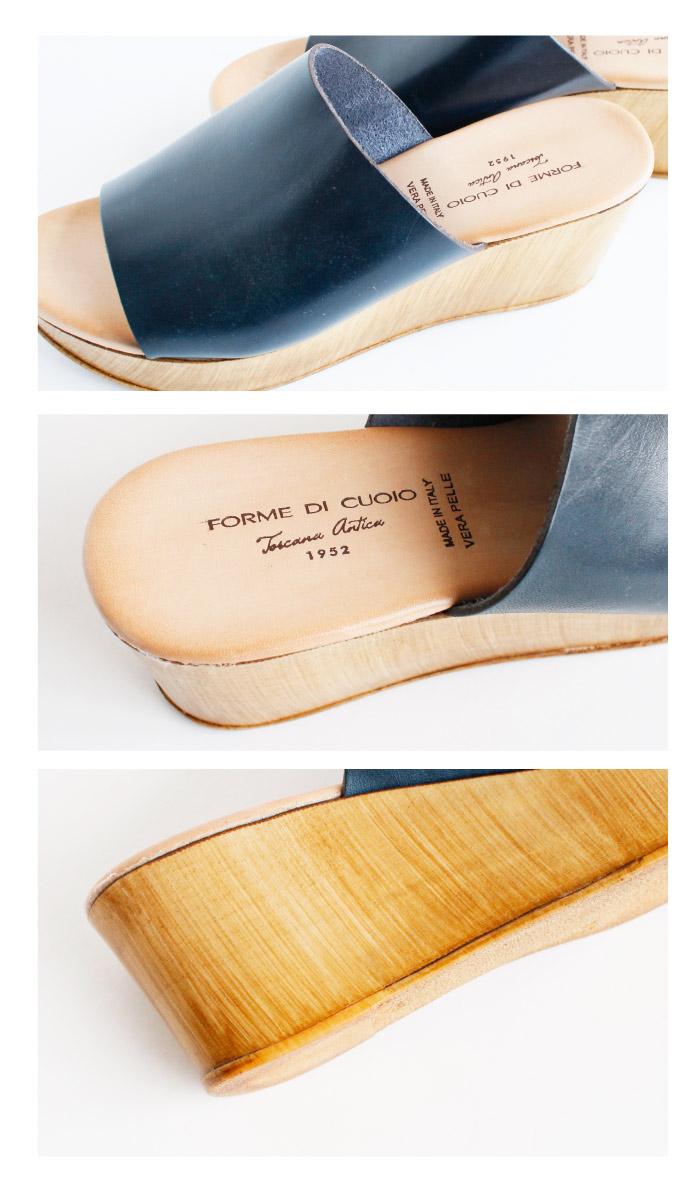 FORME DI CUOIO -フォルメ・ディ・クオイオ-ウエッジソールサボサンダル(13-E224)全2色